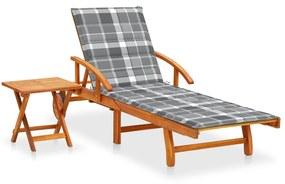3061631 vidaXL Șezlong de grădină cu masă și pernă, lemn masiv de acacia