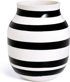Vază din gresie ceramică Kähler Design Omaggio, înălțime 20 cm, negru - alb