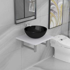 279324 vidaXL Set mobilier de baie, 2 piese, alb, ceramică