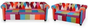 278215 vidaXL Set canapea Chesterfield, 2 piese, material textil
