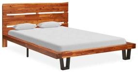 325284 vidaXL Cadru de pat margini naturale, 120 cm, lemn masiv de acacia