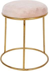 Taburet cu cadru din fier auriu si sezut catifea roz Ø 42 cm x 48 h