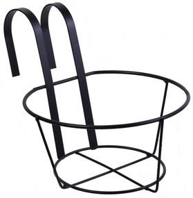Suport suspendabil rotund pentru ghivece, 20x18 cm, Fier, Negru
