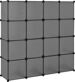 [neu.haus]® Dulap haine Modell 8, 144 x 144 x 37 cm, 16 compartimente depozitare, plastic, gri