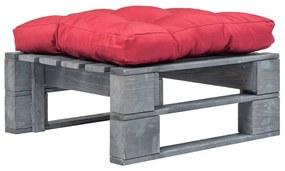 275283 vidaXL Taburet de grădină din paleți cu pernă roșie, lemn gri