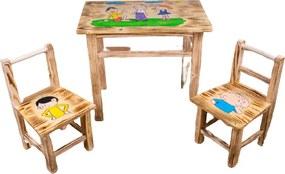 Masă din lemn pentru copii cu model Lolek și Bolek + 2 scaune