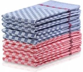 Set 10 prosoape de bucatarie Louie II Rosu / Albastru, 50 x 70 cm