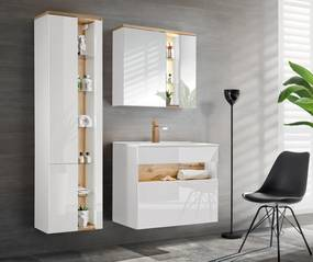 Set mobilier baie Bond White 80 cm Set Mobilier Baie 4 piese