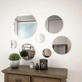 245692 vidaXL Set oglindă de perete, 7 piese, sticlă, rotundă