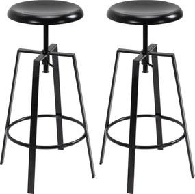 HOMCOM Set de 2 Scaune de Bar Inaltime Reglabila si Suport pentru Picioare, Stil Industrial