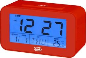 Ceas desteptator cu LCD SLD 3P50, termometru, calendar, rosu, Trevi