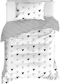 Lenjerie de pat din bumbac ranforce pentru pat de o persoană Mijolnir Eveline White, 140 x 200 cm