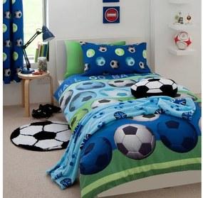 Lenjerie de pat pentru copii Catherine Lansfield Football, 135 x 200 cm, albastru