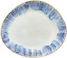 Farfurie ovală din gresie ceramică osta Nova Brisa, ⌀ 27 cm, alb - albastru