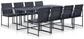 44445 vidaXL Set mobilier de exterior cu perne, 9 piese, negru, poliratan
