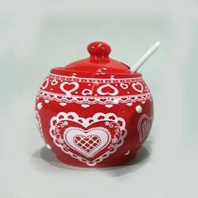 Recipient pentru zahar Winter din ceramica rosie 8 cm
