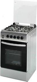 Aragaz Hausberg HB-005IN, 4 arzatoare , Gaz, Aprindere electrica, Iluminare cuptor, 50x60 cm, Inox HB-005IN