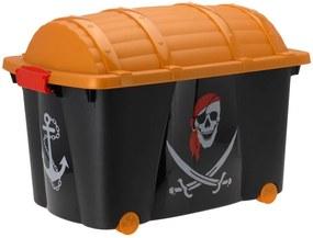 Cutie de depozitare cu capac pentru jucarii Emako Pirate, 57 L