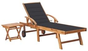 3063021 vidaXL Șezlong cu pernă și masă, lemn masiv de tec
