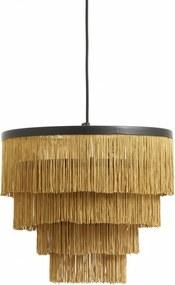 Lampa Suspendata din Metal Negru si Franjuri - Textil Galben Diametru (36 cm) x Inaltime (32 cm)
