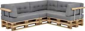 [en.casa]® Set perne Charlotte pentru mobilier paleti, 3 x perna sezut 120 x 80 x 15 cm, 3 x perna spate 120 x 40 x 20/10 cm, 3 x perna colt 60 x 40 x 20/10 cm, poliester, gri deschis