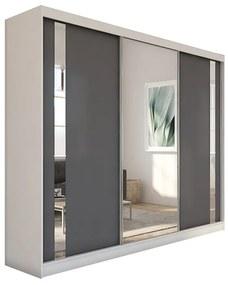 Expedo Dulap cu uși glisante si oglindă GAJA, 240x216x61, alb/grafit
