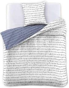 Lenjerie de pat din microfibră DecoKing Nightime Tales, 140 x 200 cm, alb - gri