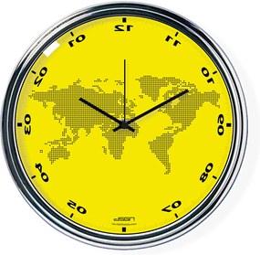 Ceas invers cu o hartă mondială - galben, diametru 32 cm | DSGN