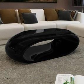 Măsuță de cafea din fibră de sticlă, negru lucios