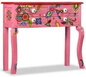 244597 vidaXL Masă consolă, lemn masiv de mango, roz, pictat manual