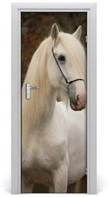 Autocolante pentru usi perete cal alb