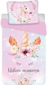 Lenjerie de pat Jerry Fabrics Unicorn, de copii, din bumbac, 140 x 200 cm, 70 x 90 cm