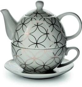 Ceainic cu sită și suport Villa d´Este Elegance, alb