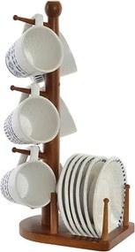 Set Tradition cu 6 cesti si 6 farfurii din ceramica si suport din lemn