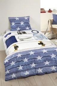 Home lenjerie de plapuma albastra din bumbac pentru un pat de o persoana Good Morning Boys Room 140x200/220cm