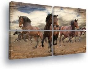 GLIX Tablou - Wild Horses 4 x 60x40 cm