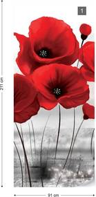 GLIX Tapet netesute pe usă - Red Poppies
