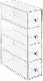 Cutie depozitare transparentă cu 4 sertare iDesign Tower