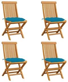 3062587 vidaXL Scaune grădină perne albastru deschis, 4 buc., lemn masiv tec