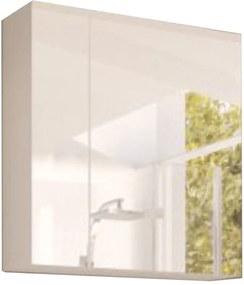 Dulap cu oglindă, alb/alb cu luciu extra ridicat HG, MASON WH14