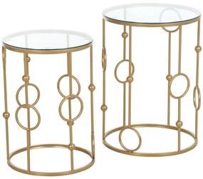 Homcom Set 2 Piese Masute de Cafea Design cu Modele de Cerc Metal si Sticla Temperata