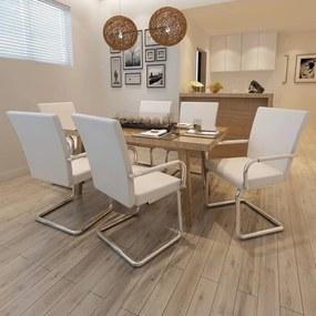 270165 vidaXL Scaune de bucătărie consolă, 6 buc., alb, piele ecologică