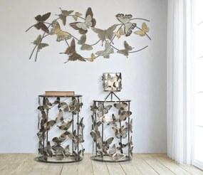 Set 2 masute Farfalle, fier sticla, multicolor, 41,3X55-35X50,3 cm