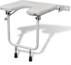 Scaun pentru duș din oțel, alb