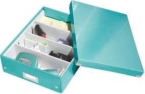 Cutie cu organizator Leitz Office, lungime 37 cm, albastru turcoaz