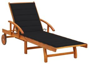 3061609 vidaXL Șezlong de grădină cu pernă, lemn masiv de acacia