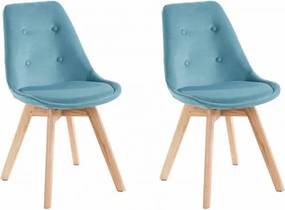 Set de 2 scaune Oldham, catifea/lemn masiv de stejar, petrol, 49x56x83 cm