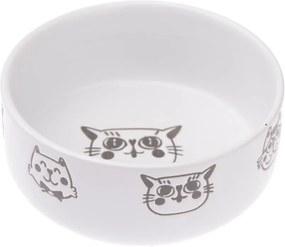 Bol din ceramică pentru pisici Dakls, 300 ml, alb