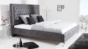 Pat din textil si metal Invicta Interior Extravagancia Grey - 180x200 cm