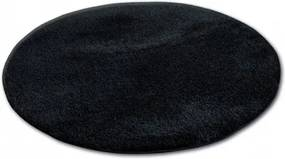 Covor rotund Shaggy Micro negru cerc 60 cm